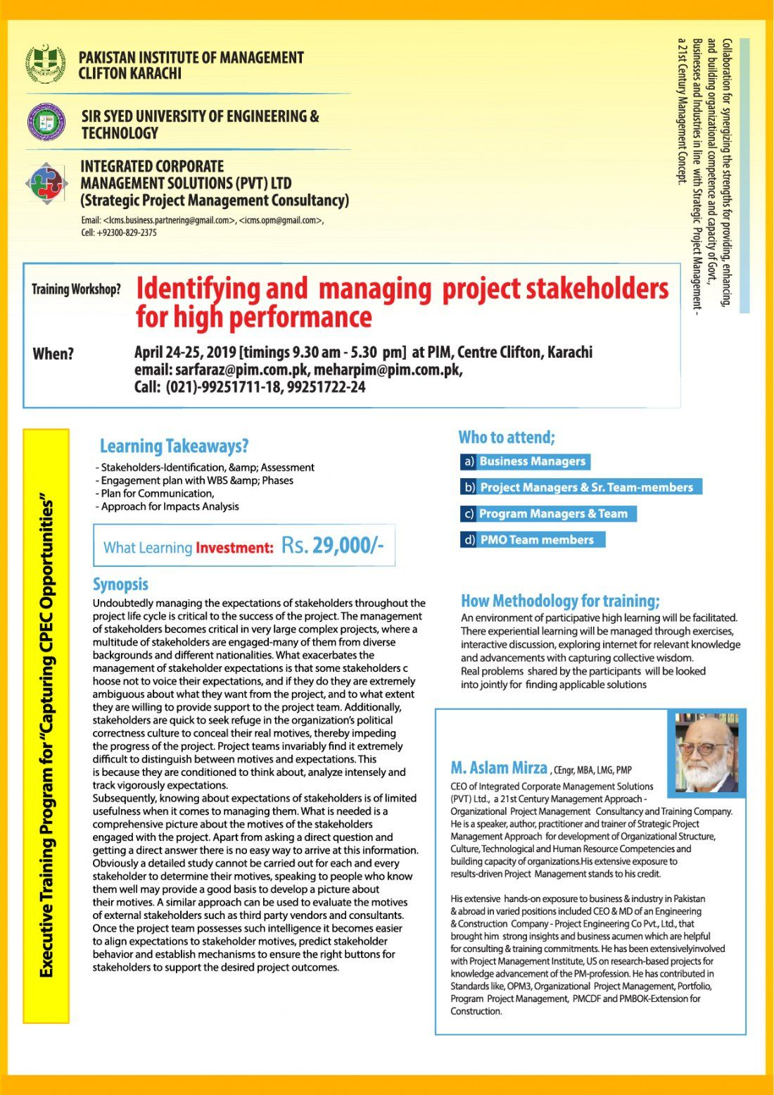 Training Workshop - Identifying and Managing Project Stakeholders for High Performance