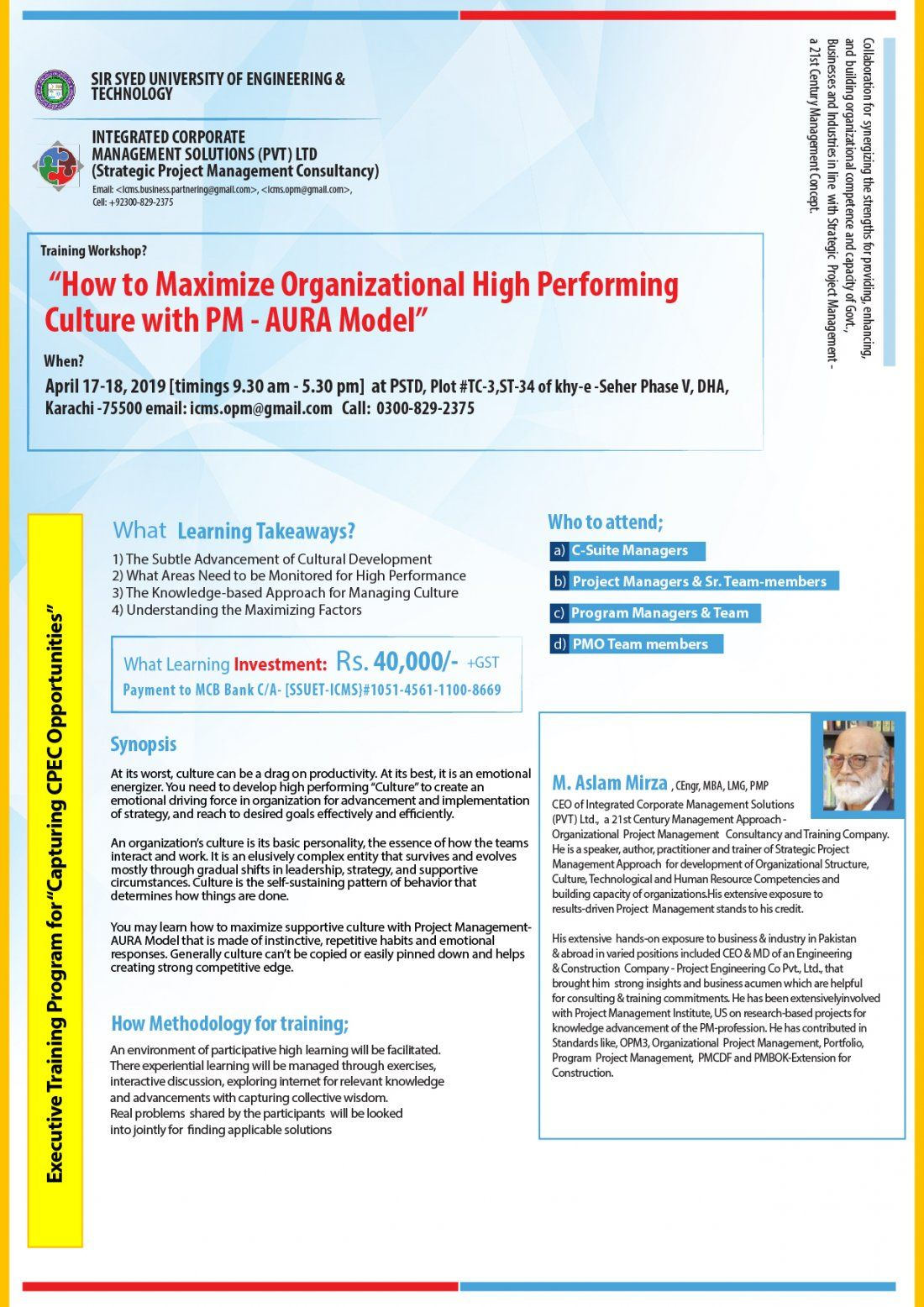 Training Workshop - How to Maximize Organizational Culture with Project Management AURA Model
