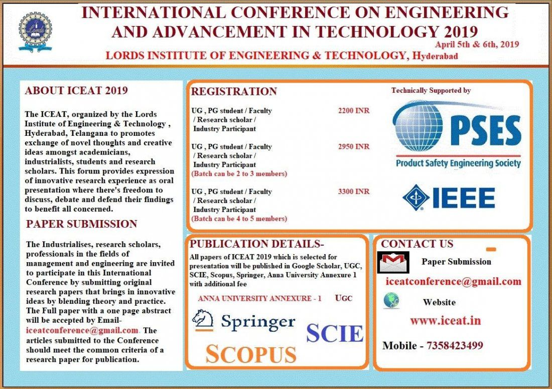 INTERNATIONAL CONFERENCE ON ENGINEERING AND ADVANCEMENT IN TECHNOLOGY 2019