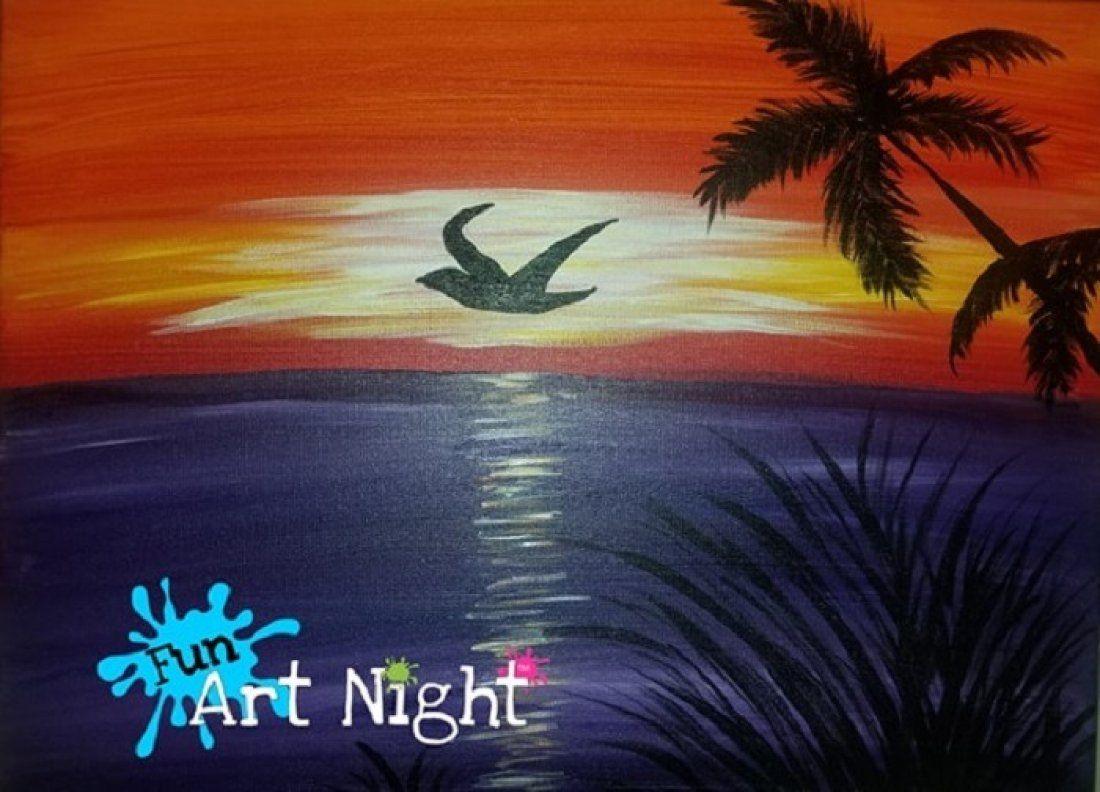 Fun Art Night Colorful Flight in Orange