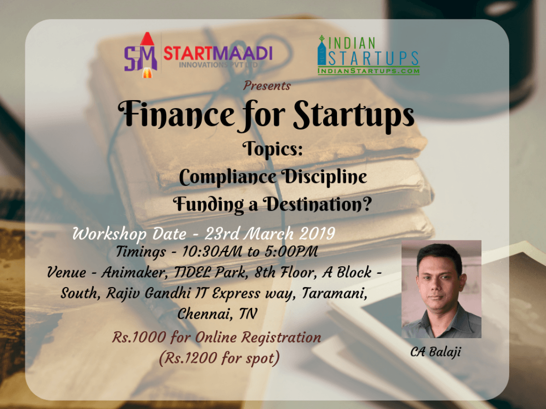 Finance for Startups - Series 1 at Chennai