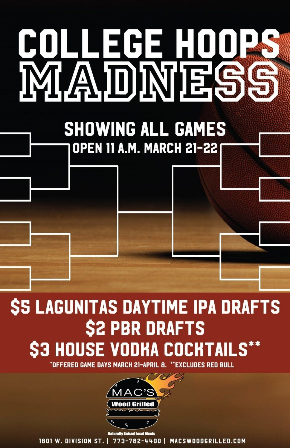 College Hoops Madness at Macs Wood Grilled