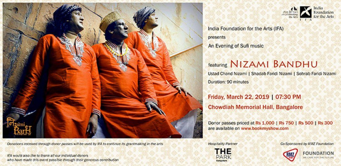India Foundation for the Arts presents An Evening of Sufi music featuring Nizami Bandhu