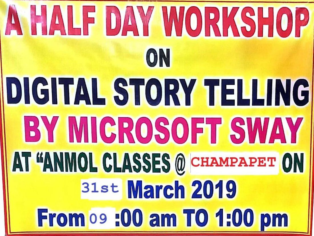 A Half Day Workshop on Digital Story Telling With Microsoft SWAY