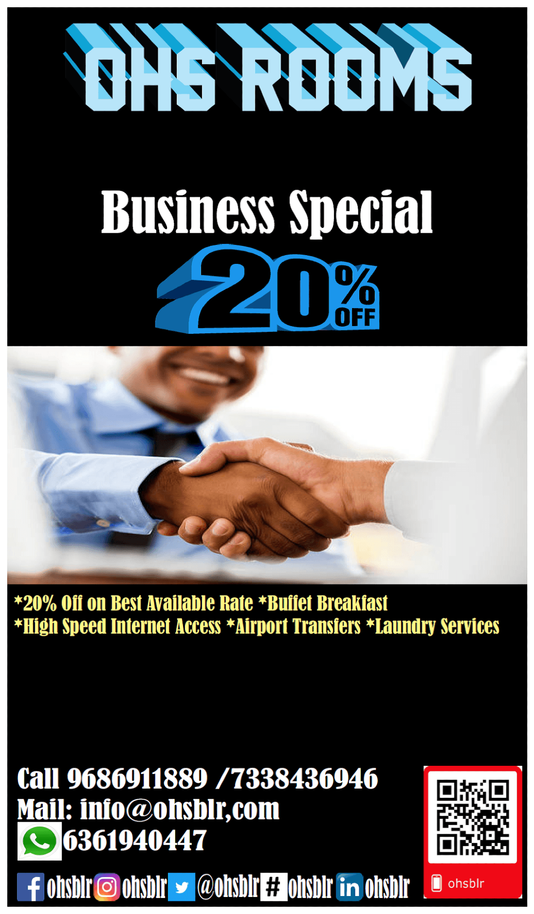 ohs rooms 20% discount for Business Travellers