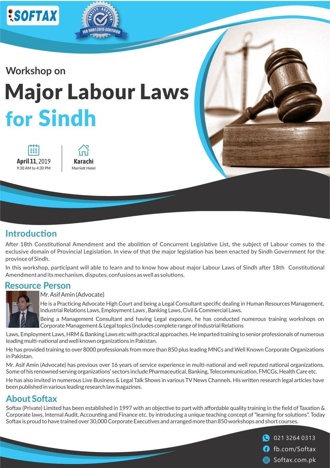 Workshop on Major Labour Laws for Sindh