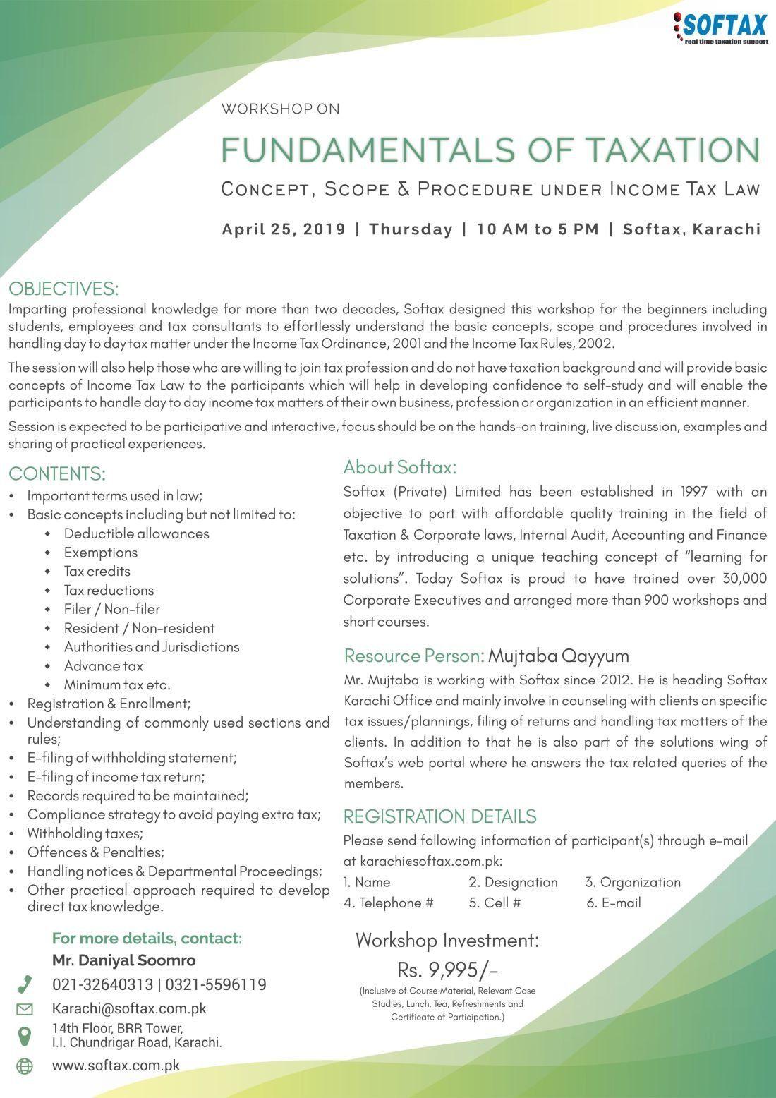 Workshop on Fundamentals of Taxation