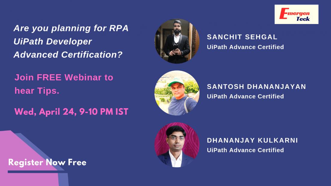 FREE Webinar   RPA UiPath Developer Advanced Certification   Wed, 24