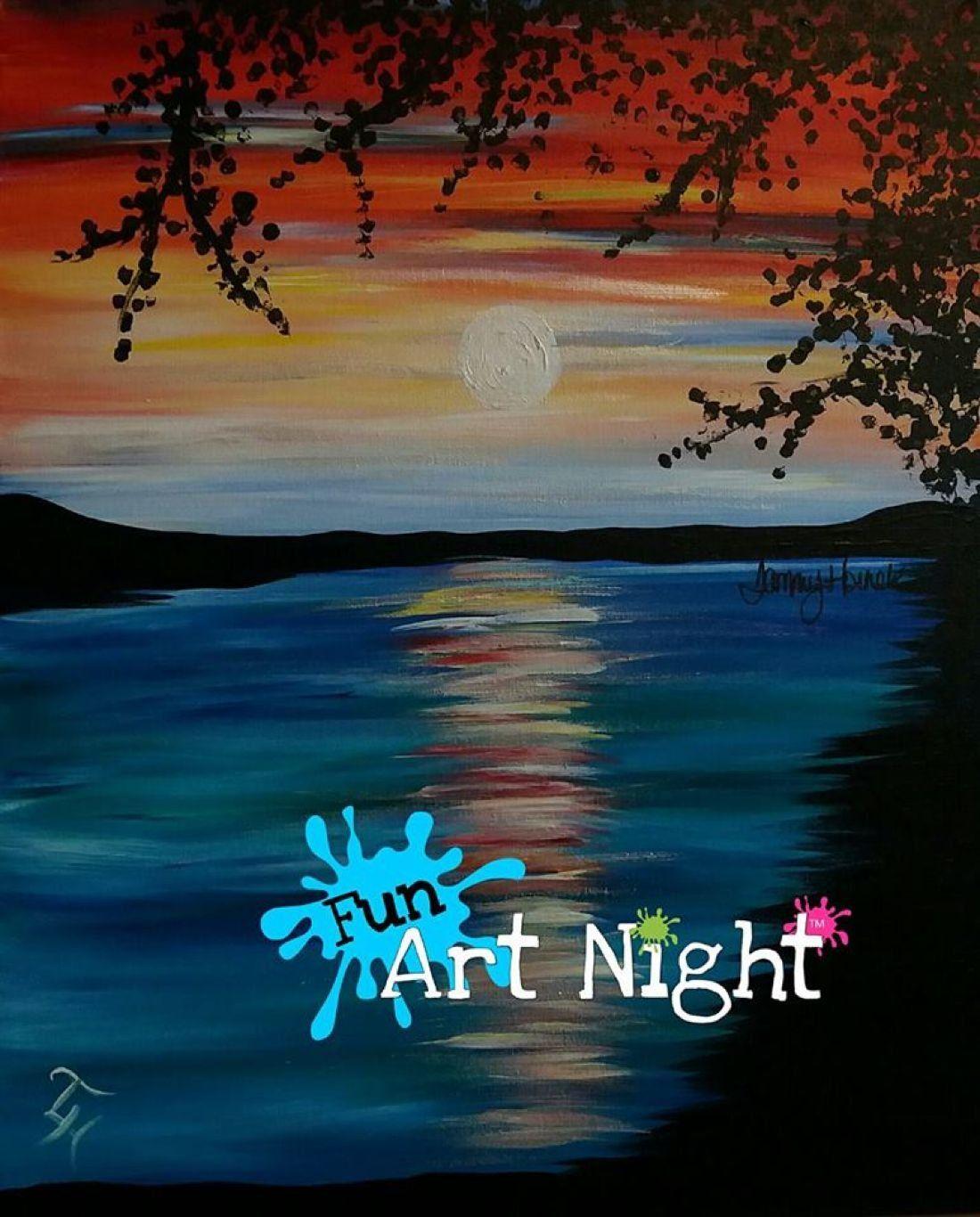 Fun Art Night Sunrise On The Lake in Orange