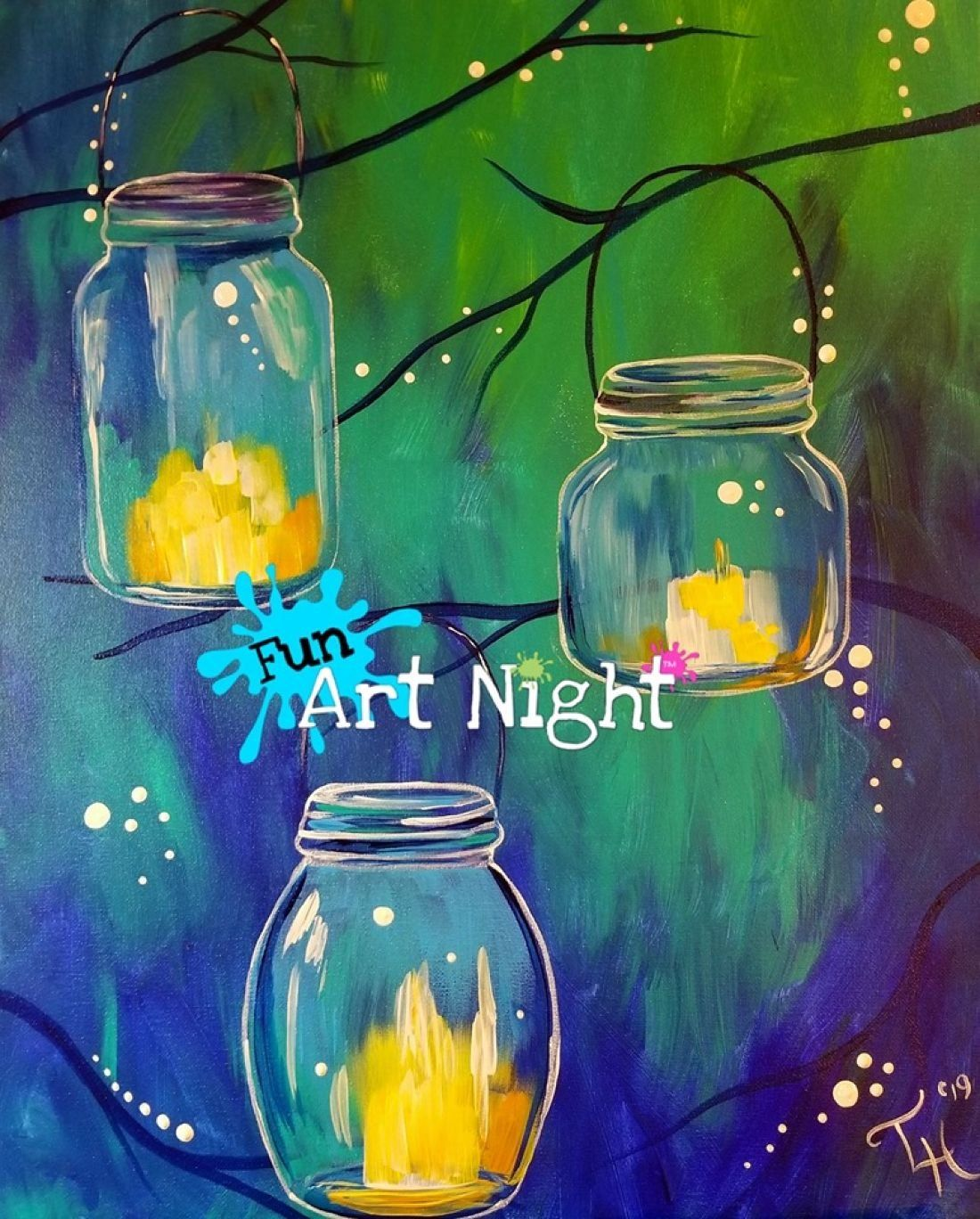 Paint Night Jars of Light in Orange