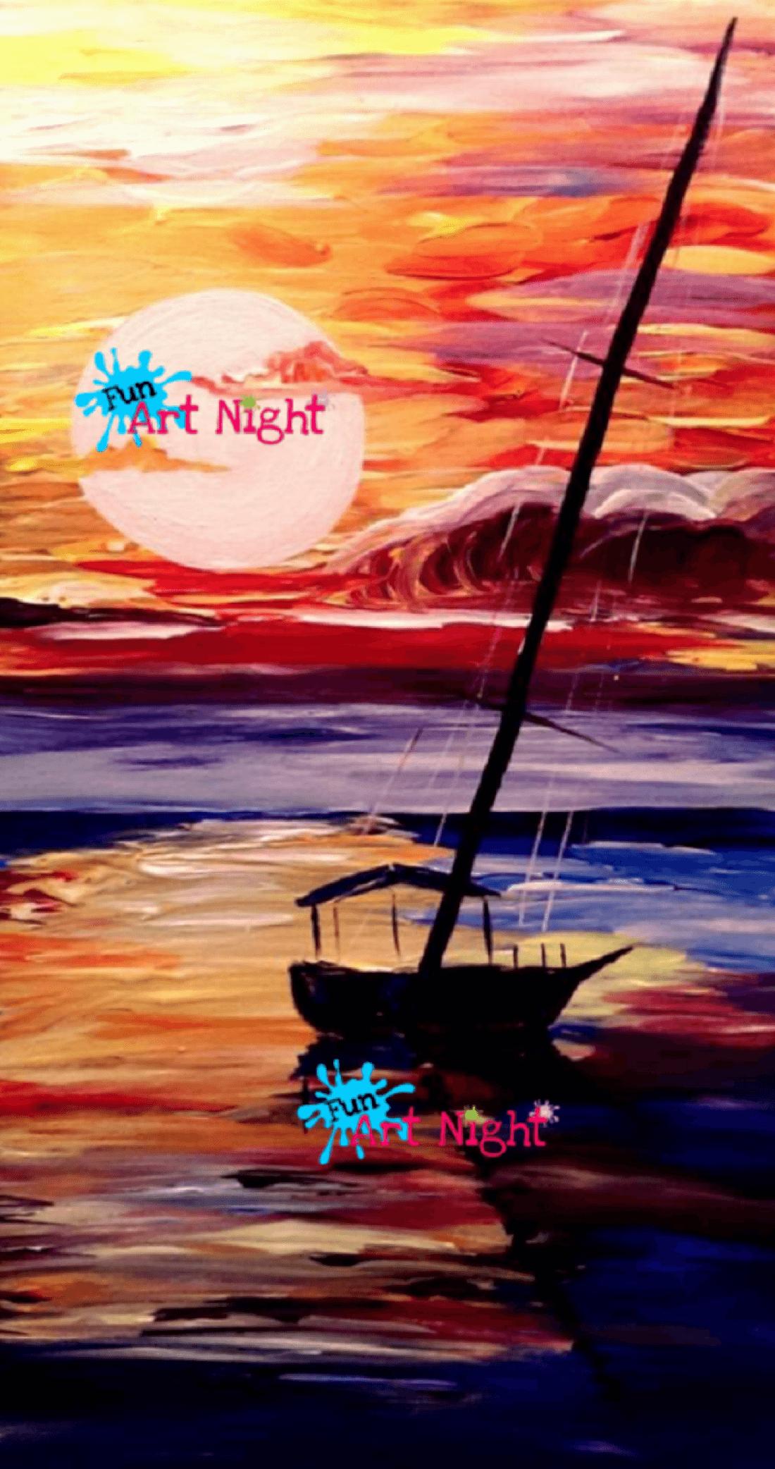 Fun Art Night Red Sky at Night in Charlottesville