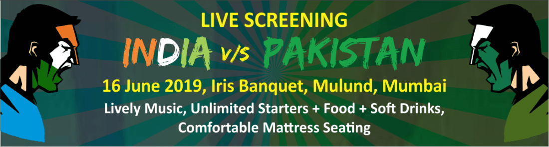 India vs Pakistan Live Screening with Unlimited Food