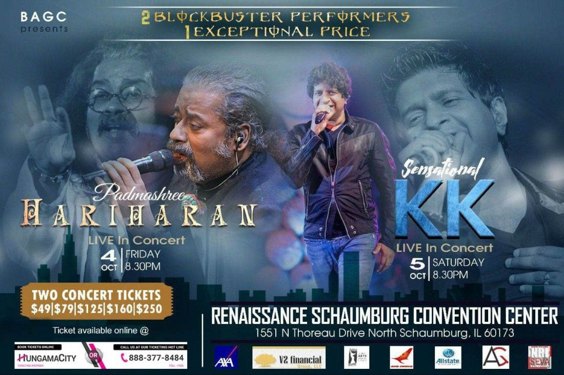 Hariharan and KK Live in Concert on 4th Oct & 5 Oct, 2019 at