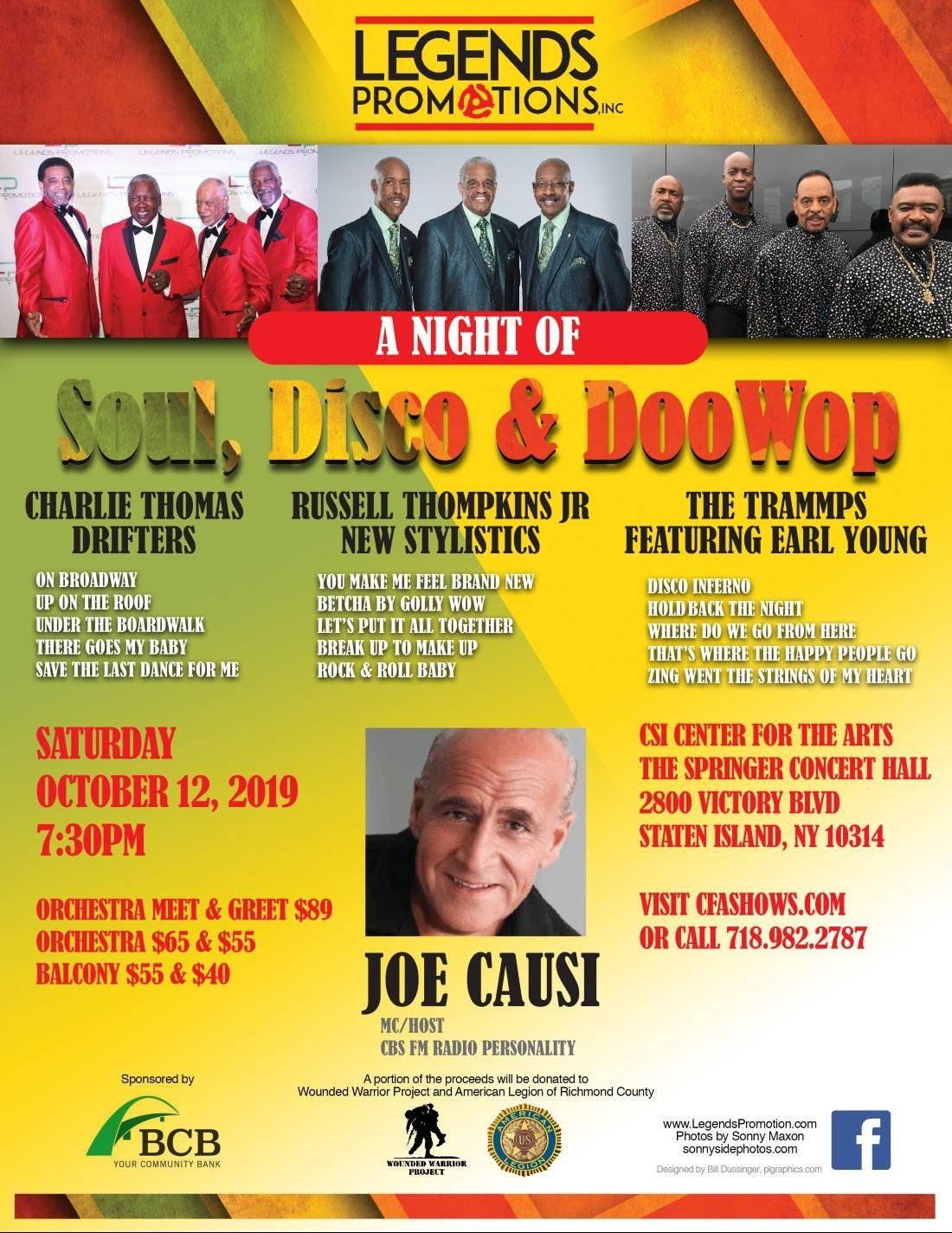 Legends Promotions Presents  A Night of Soul Disco & Doo Wop
