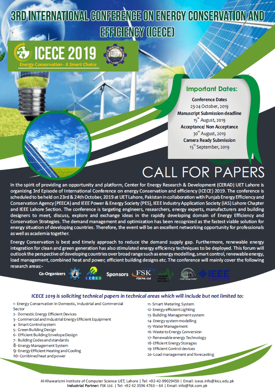International Conference On Energy Conservation and Efficiency ICECE 2019 UET Lahore