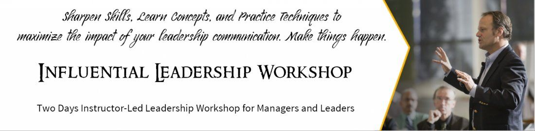 Influential Leadership - Workshop for Managers and Leaders  Hyderabad