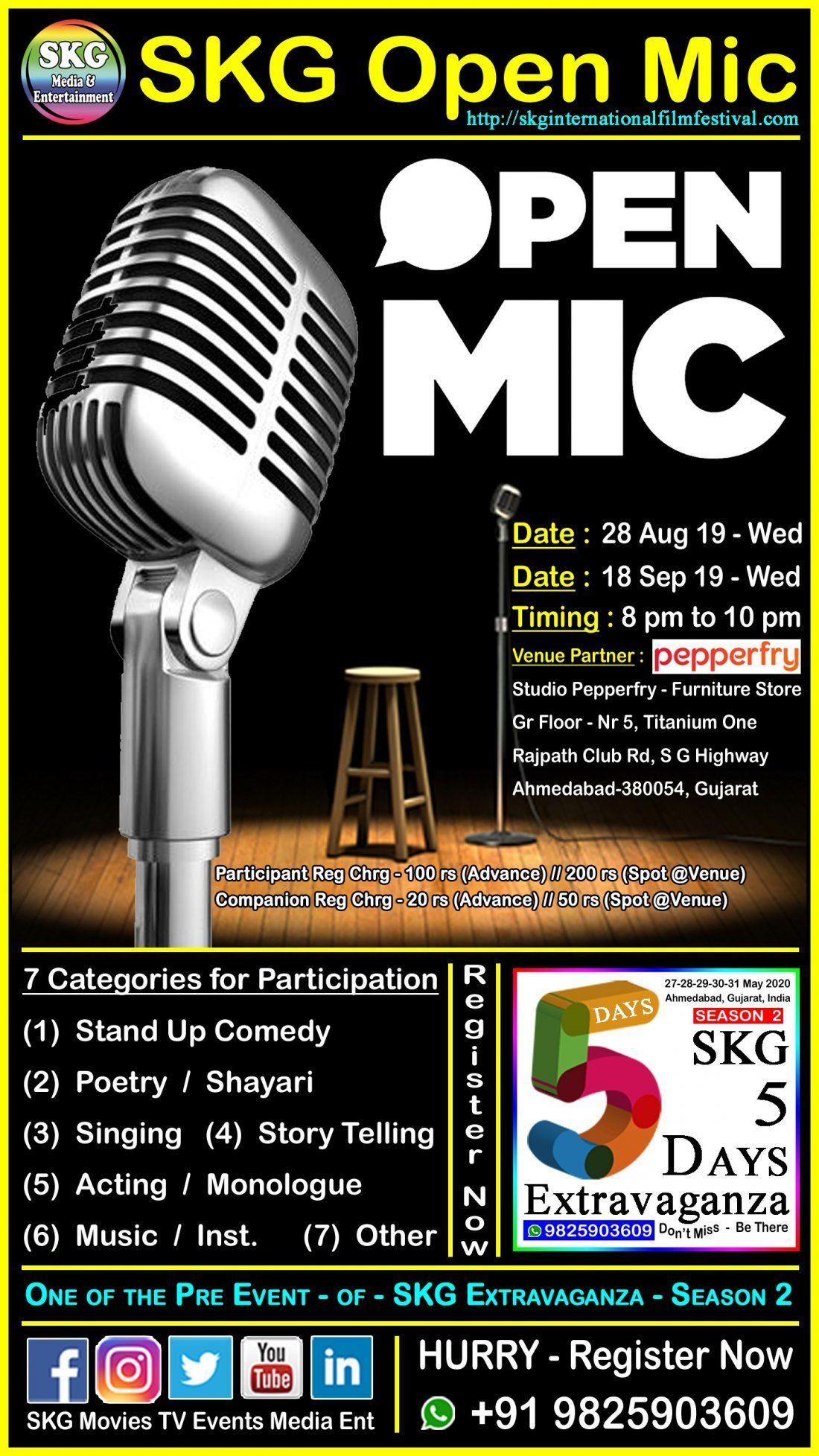 SKG Open Mic - 28 Aug 2019, Wednesday at Studio Pepperfry