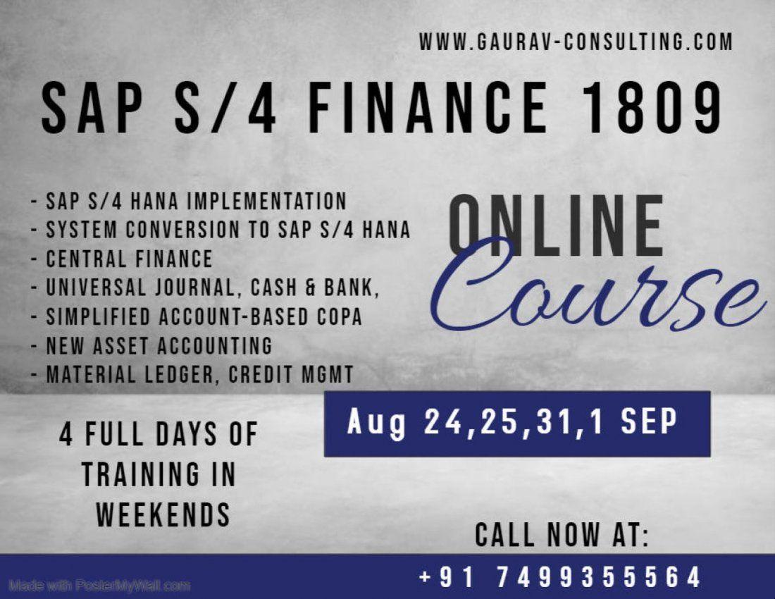 SAP S/4 HANA Finance Certification 4 days Classroom Workshop