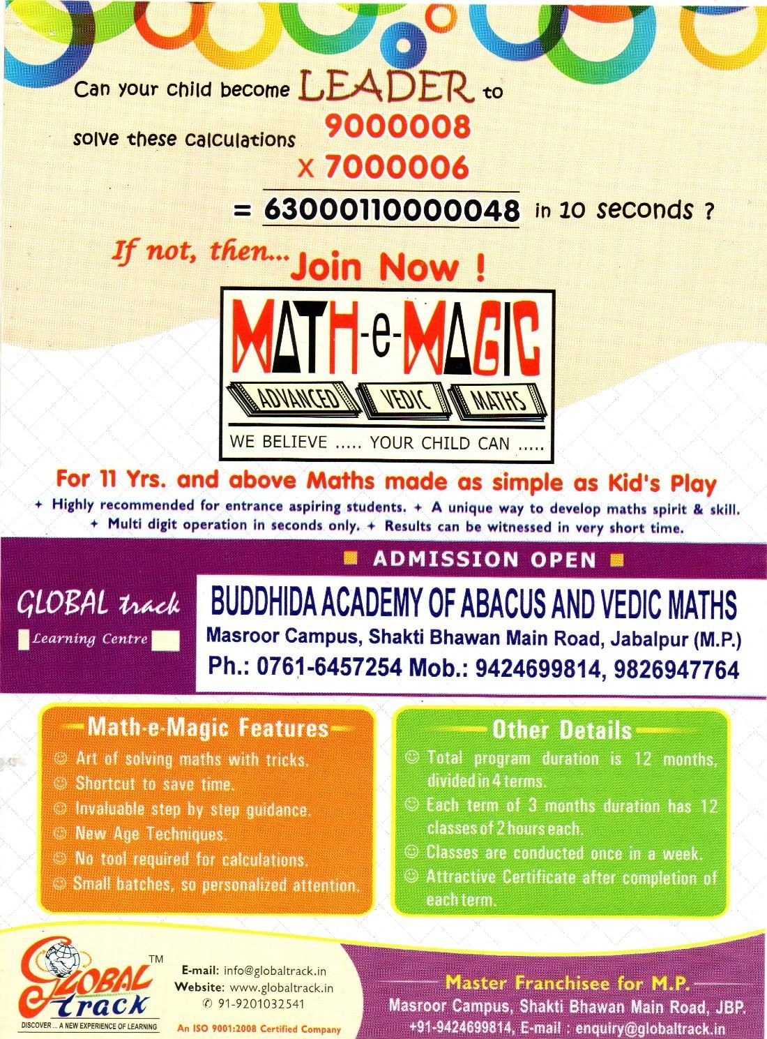 ONE DAY FREE LEARNING WORKSHOP OF VEDIC MATHS