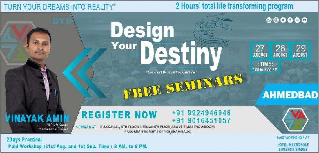 Free Motivational seminar-Design Your DestinyAHMEDABAD