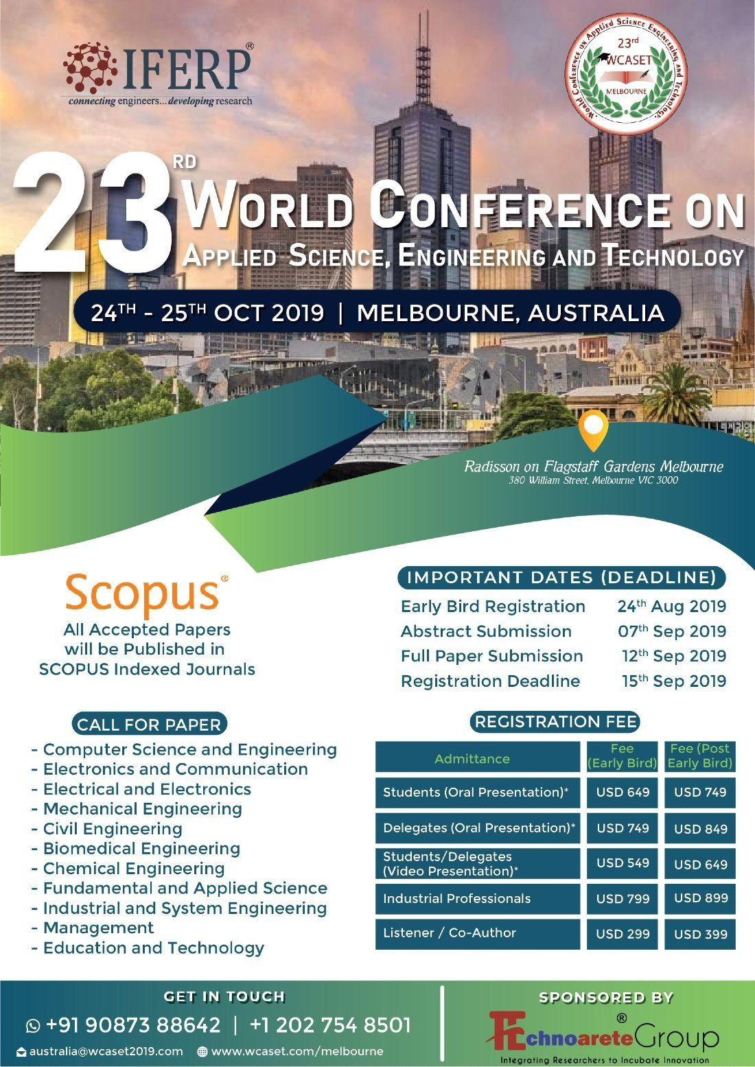 23rd World Conference on Applied Science Engineering and Technology (WCASET - 19)