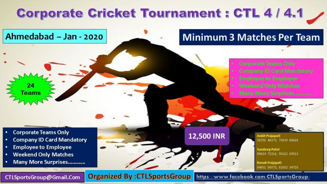 Corporate Cricket Tournament Ctl 4 4 1 At Ahmedabad