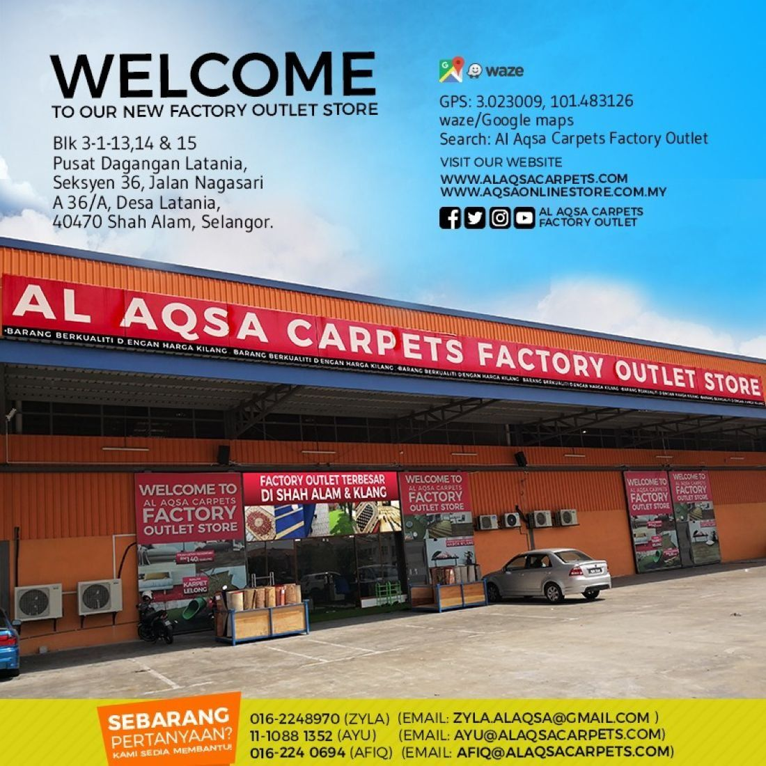 Al Aqsa Carpets New Outlet Opening Launch- Biggest showroom to date