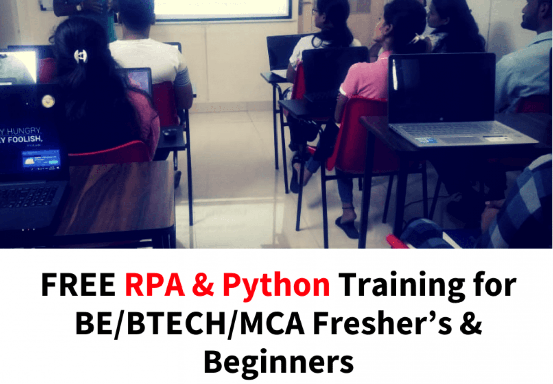 FREE RPA & Python Training for BEBTECHMCA Freshers  Pay Only After Placement  25 Nov  Pune
