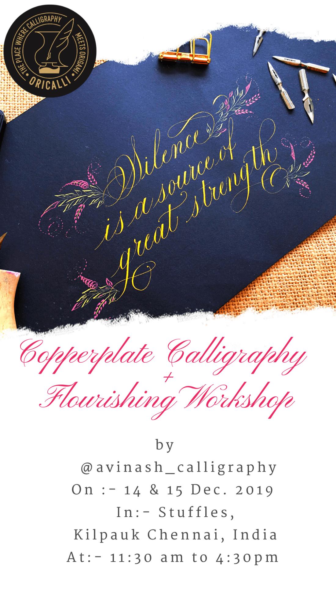 Copperplate plus flourishing calligraphy workshop
