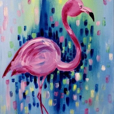 Enjoy an afternoon with Painting and Brews. Learn how to paint this Glorious Flamingo