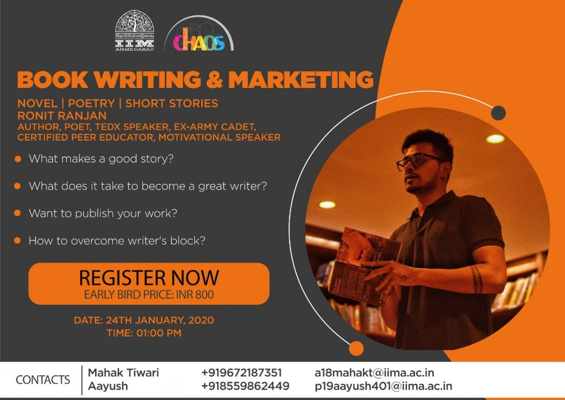 Book Writing and Marketing Workshop  Novels  Poetry  Short Stories by Ronit Ranjan