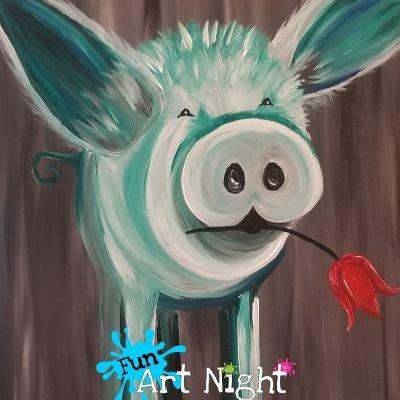Fun Art Night Home Pigcasso