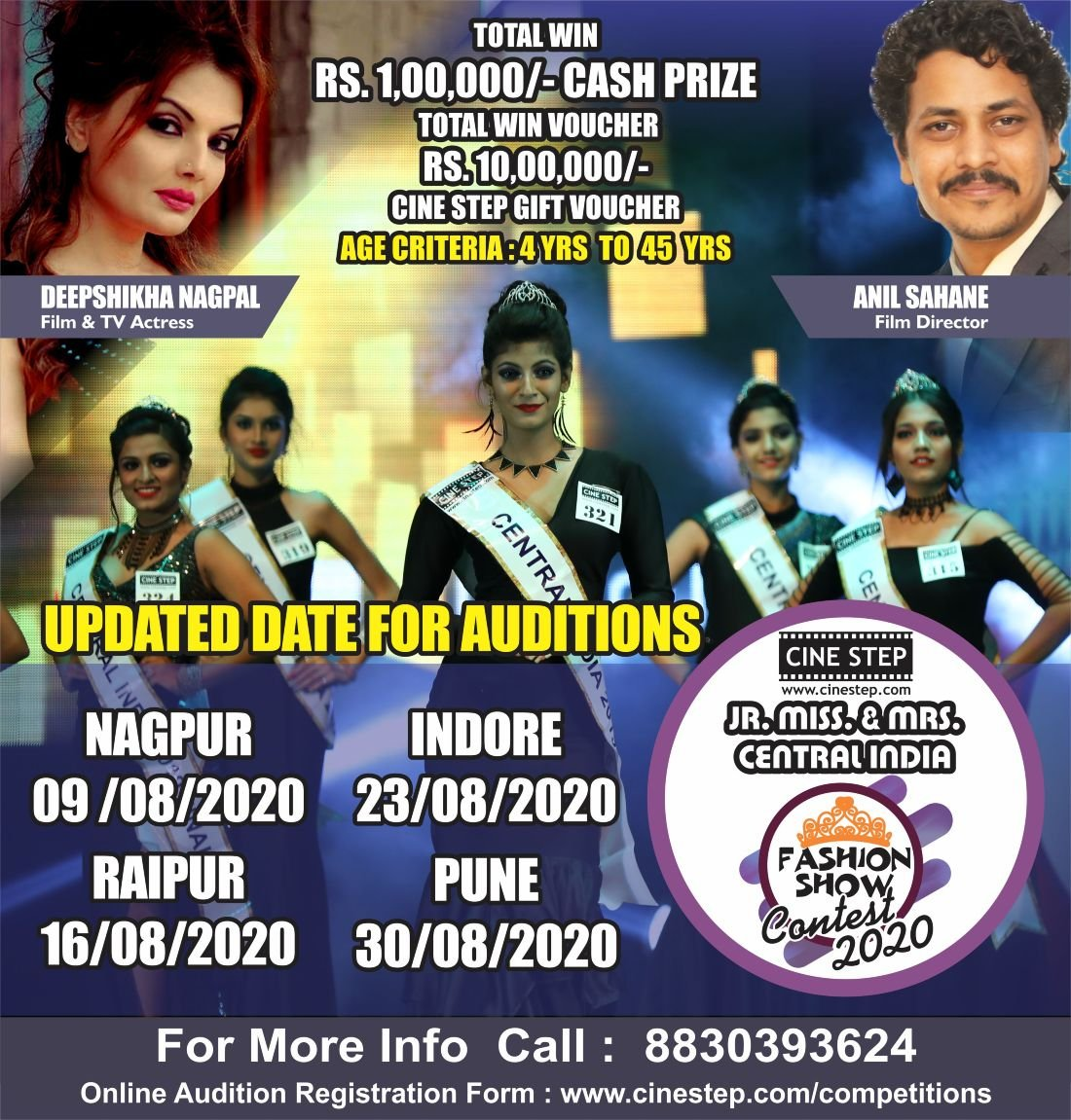 CINE STEP  JR. MISS & MRS CENTRAL INDIA FASHION SHOW CONTEST 2020 NAGPUR AUDITION