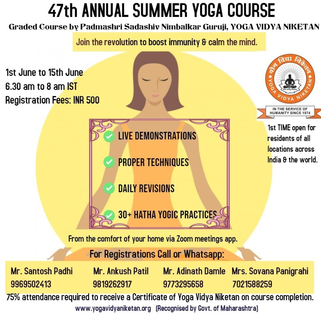 47th Yoga Summer Course Yoga Vidya Niketan Invited By Santosh Padhi On Allevents In Online Events