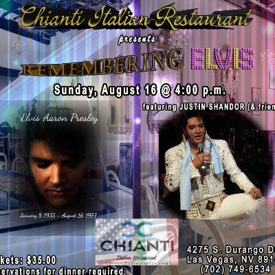 CHIANTI REMEMBERS ELVIS featuring JUSTIN SHANDOR (& Friends)