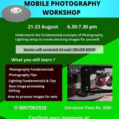 Photography Workshop  3 Online  Sessions