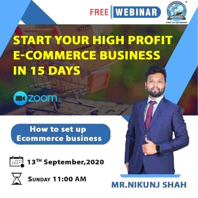 """FREE Webinar to &quotSTART your HIGH Profit E-COMMERCE Business in 15 Days"""""""