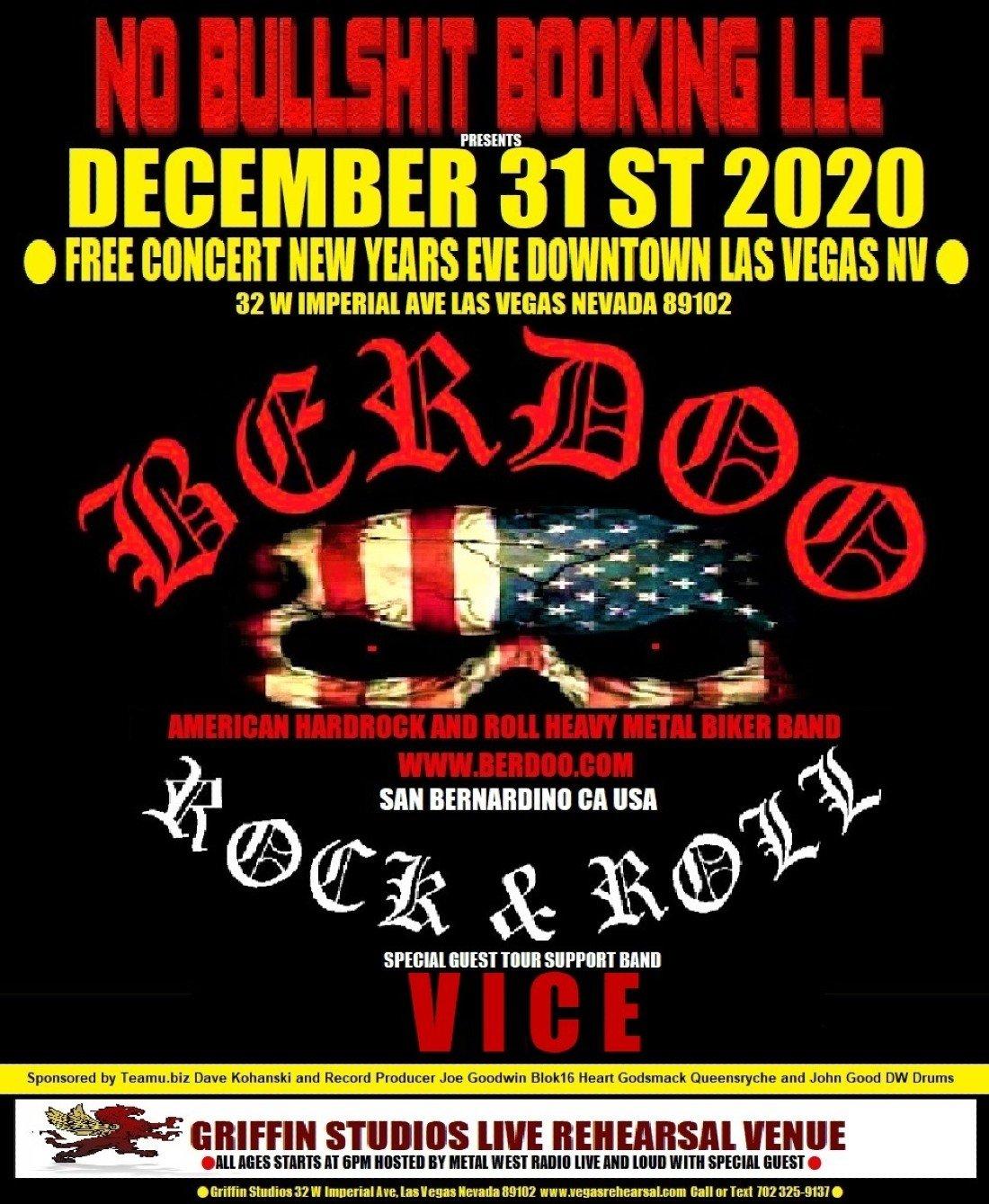 BERDOO FREE CONCERT NEW YEARS EVE DEC 31ST 2020 DOWNTOWN LAS VEGAS, 31 December | Event in Las Vegas | AllEvents.in