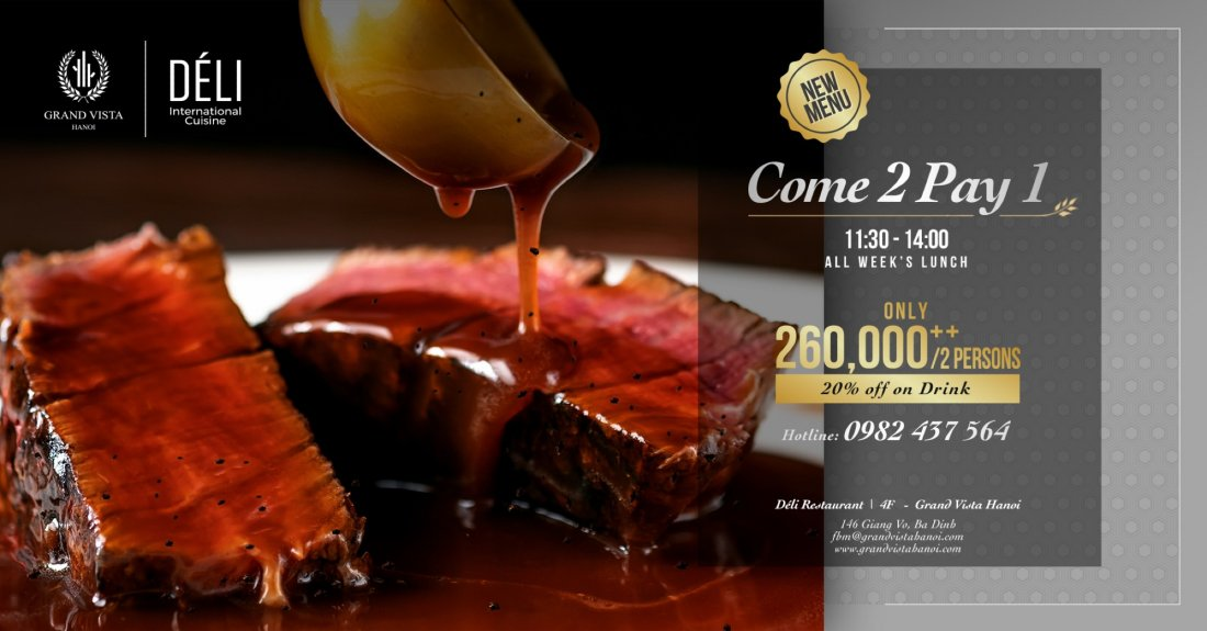 Come 2 Pay 1 at Déli/ Grand Vista Hanoi | Event in Hanoi | AllEvents.in