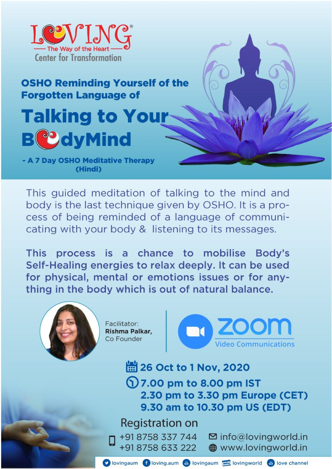 OSHO Talking to your BodyMind Meditative Therapy, 26 October | Online Event | AllEvents.in