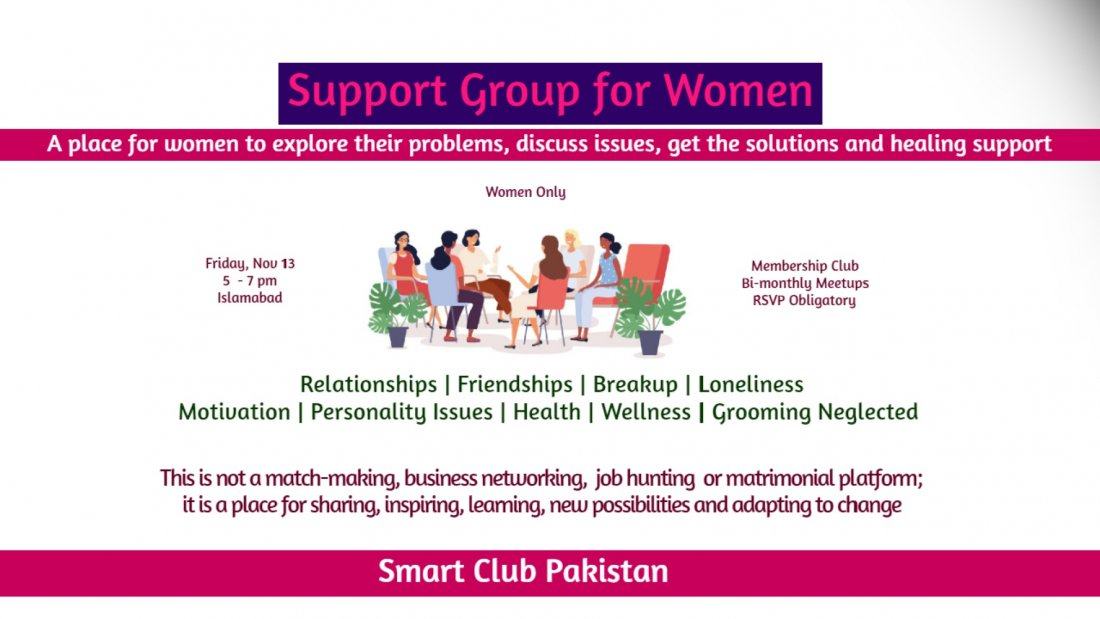 Support Group Meetup for Women Islamabad, 13 November | Event in Islamabad | AllEvents.in