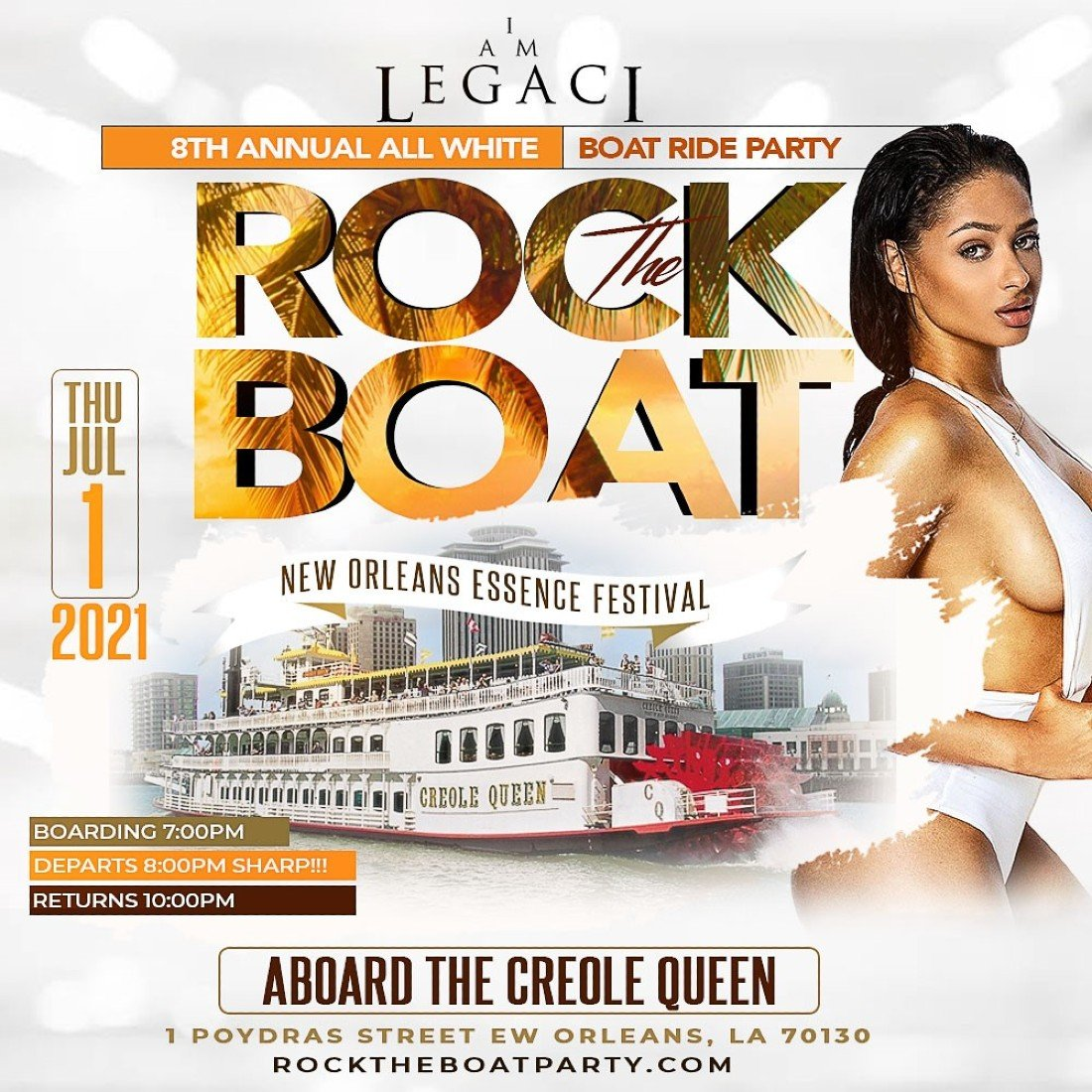 ROCK THE BOAT 2021 THE 8th ANNUAL ALL WHITE BOAT RIDE PARTY DURING NEW ORLEANS ESSENCE MUSIC FEST, 1 July