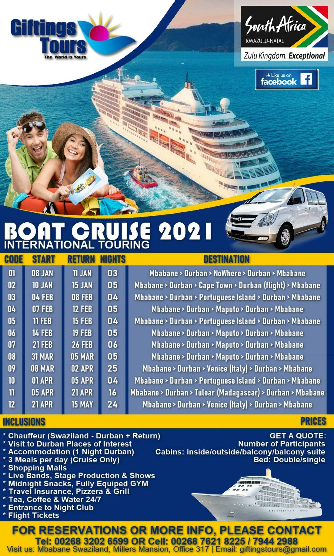 BOAT CRUISE SCHEDULE 2021- Giftings Tours, 1 June | Online Event | AllEvents.in