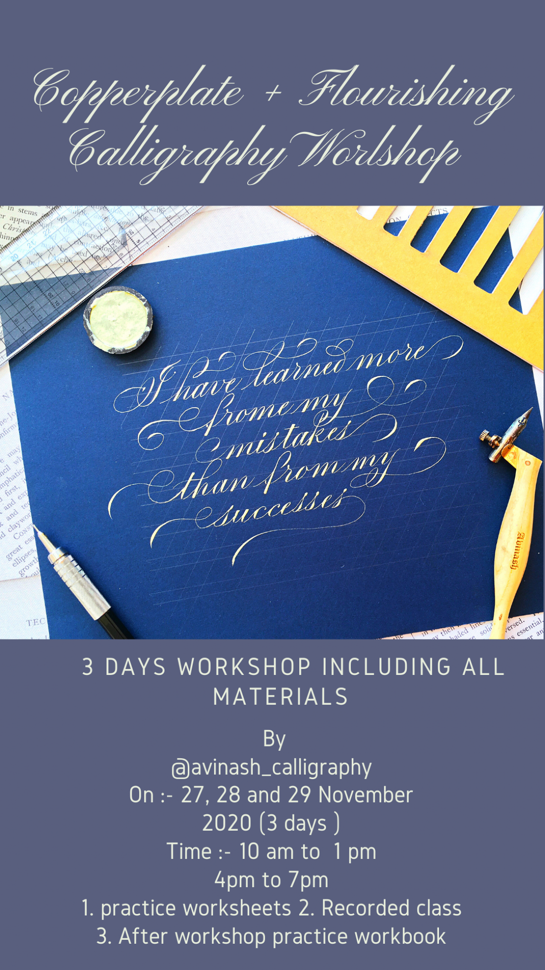 Copperplate + Flourishing Calligraphy Workshop, 27 November   Online Event   AllEvents.in