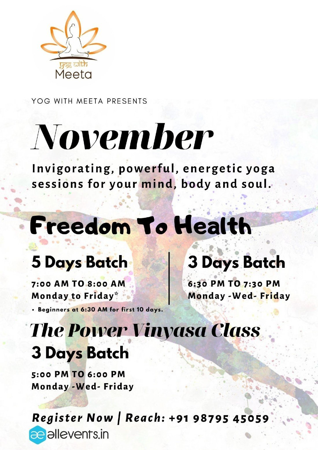 Yog with Meeta Monthly Yoga   NOVEMBER   Online Event   AllEvents.in