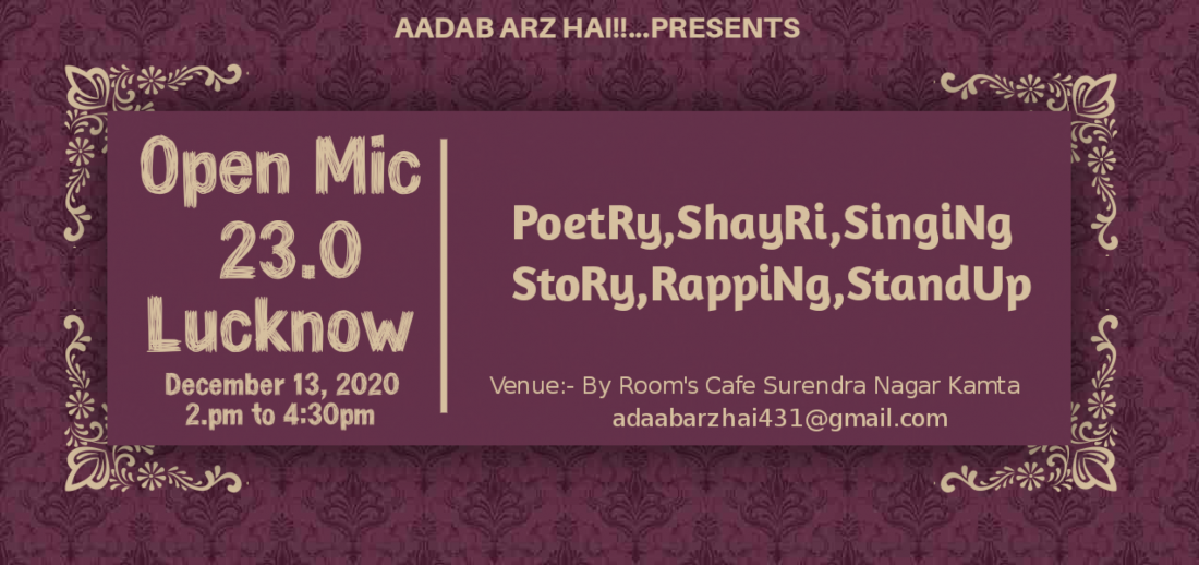 Aadab Arz Hai!! Open Mic 23.0 Lucknow | Event in Lucknow | AllEvents.in