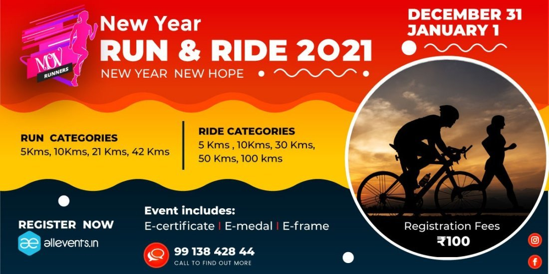 NEW YEAR RUN - RIDE 2021 Tickets, 31 December to 1 January