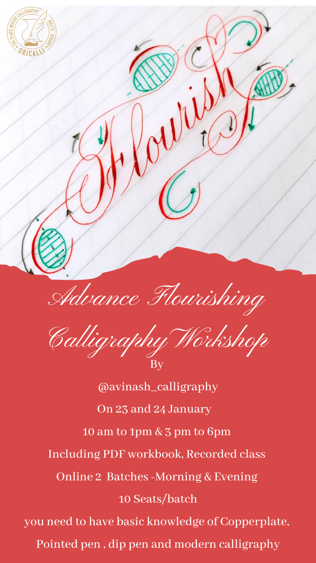 Advance Flourishing calligraphy workshop, 23 January | Online Event | AllEvents.in