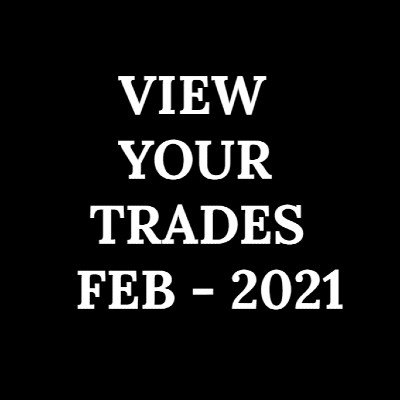 VIEW YOUR TRADES - FEB 2021 - 1 MONTH SUBSCRIPTION