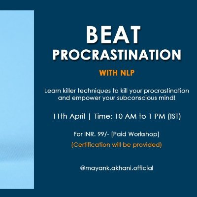 Beat Procrastination with NLP  Certification Workshop